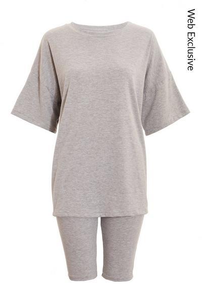 Grey T Shirt & Cycle Short Set